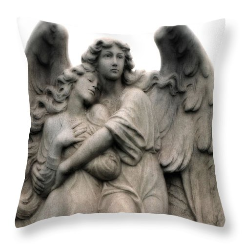 Angel Art Throw Pillow featuring the photograph Angels Embracing - Angels Dreamy Romantic Angel Art - Guardian Angel Art by Kathy Fornal