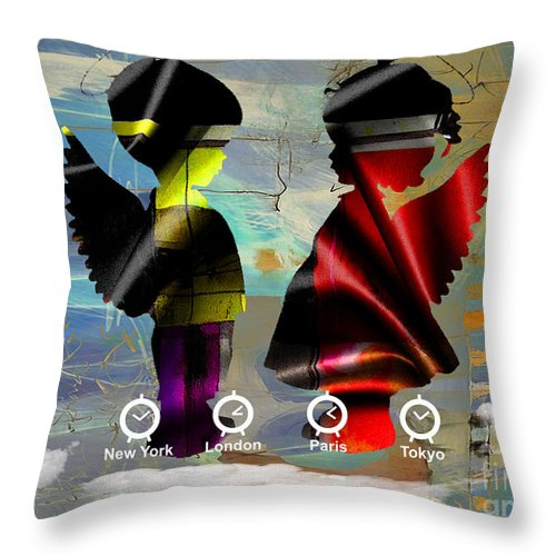 Angel Throw Pillow featuring the mixed media Angels Flight by Marvin Blaine