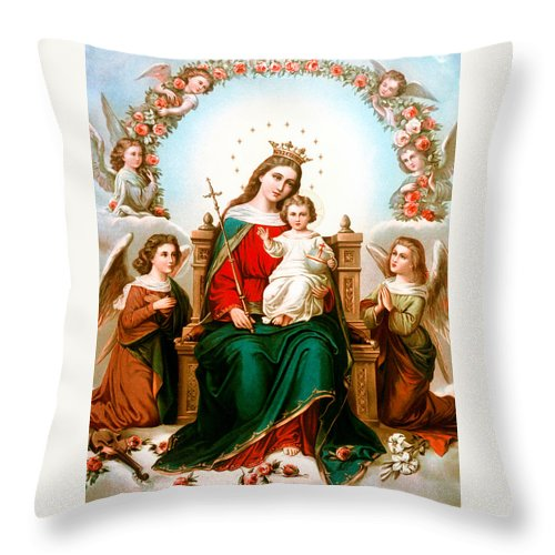 Angel Throw Pillow featuring the photograph Angels With Roses by Munir Alawi