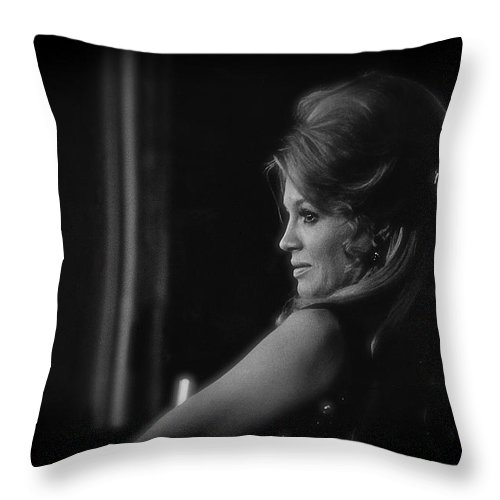 Angie Dickinson Homage Feathers Rio Bravo Howard Hawks High Noon Lauren Bacall Jules Furthman Young Billy Young Old Tucson Arizona Black And White Vignetted Throw Pillow featuring the photograph Angie Dickinson Homage As Feathers In Rio Bravo Old Tucson Arizona 1968 by David Lee Guss