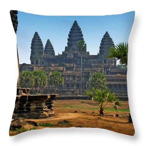 Angkor Wat Throw Pillow featuring the photograph Angkor Afternoon by Doug Matthews