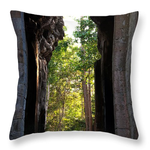 Angkor Throw Pillow featuring the photograph Angkor Thom East Gate 04 by Rick Piper Photography