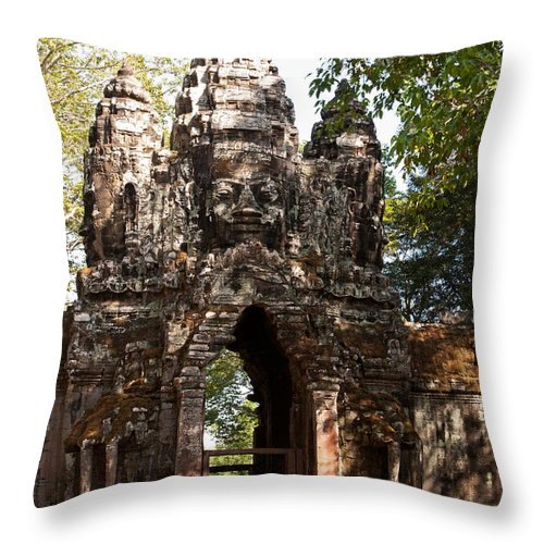 Angkor Throw Pillow featuring the photograph Angkor Thom North Gate 01 by Rick Piper Photography