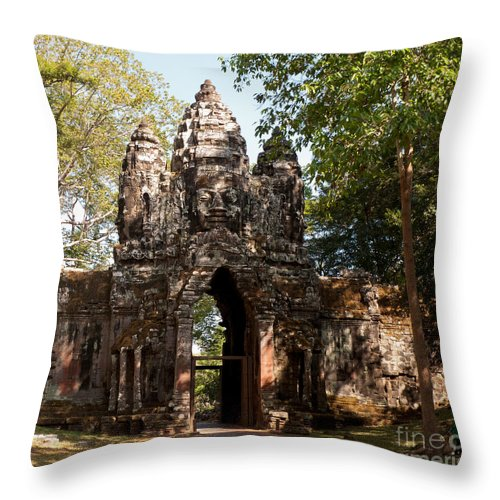 Angkor Throw Pillow featuring the photograph Angkor Thom North Gate 02 by Rick Piper Photography