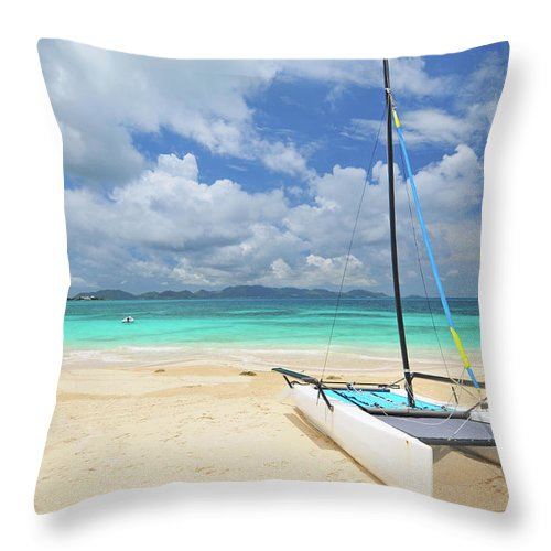 Sailboat Throw Pillow featuring the photograph Anguilla Beach by Maxian