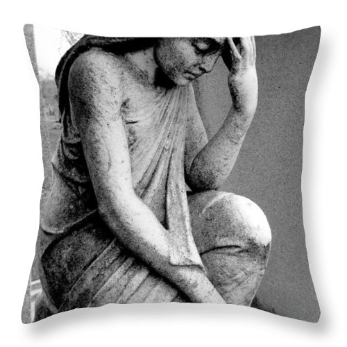 Statue Throw Pillow featuring the photograph Anguish by Rachel Kaufmann