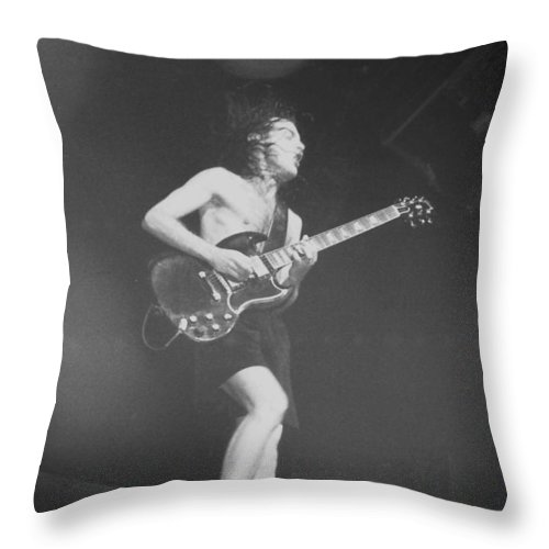 Concert Throw Pillow featuring the photograph Angus Young Acdc by Sheryl Chapman Photography