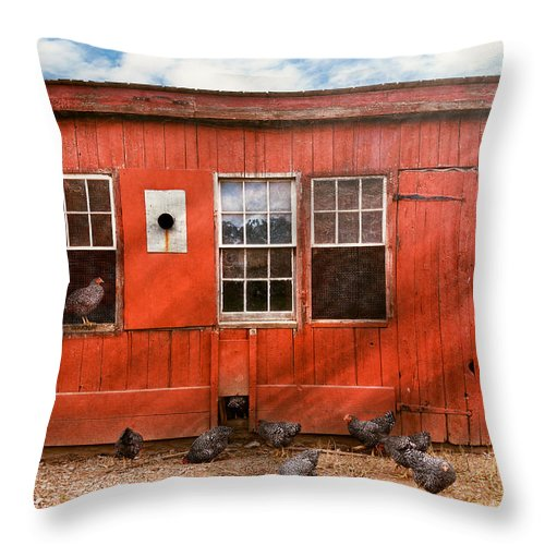 Chick Throw Pillow featuring the photograph Animal - Bird - Bird Watching by Mike Savad