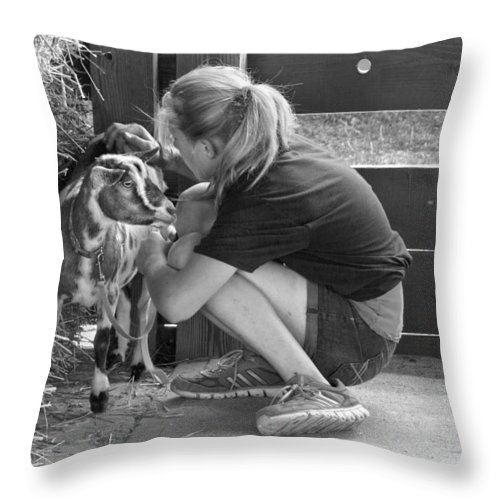 Girl Throw Pillow featuring the photograph Animal - Goat - A Girl And Her Goat by Mike Savad
