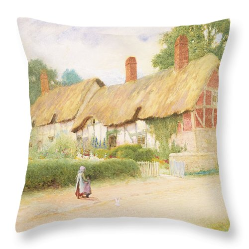 Tudor Throw Pillow featuring the painting Ann Hathaway's Cottage by Arthur Claude Strachan