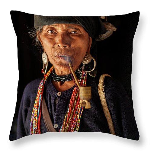 Smoking Throw Pillow featuring the photograph Ann Tribe Woman, Kyaing Tong, Golden by Peter Adams