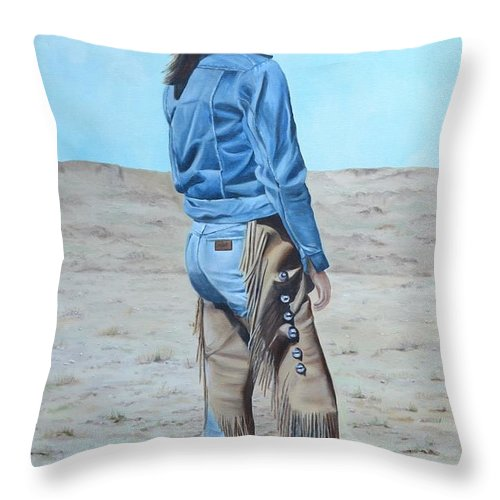 Ranch Throw Pillow featuring the painting Anna After The Ride by Mary Rogers