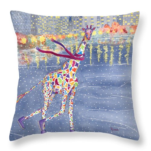 Giraffe Throw Pillow featuring the painting Annabelle On Ice by Rhonda Leonard