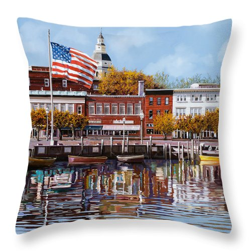Annapolis Throw Pillow featuring the painting Annapolis by Guido Borelli