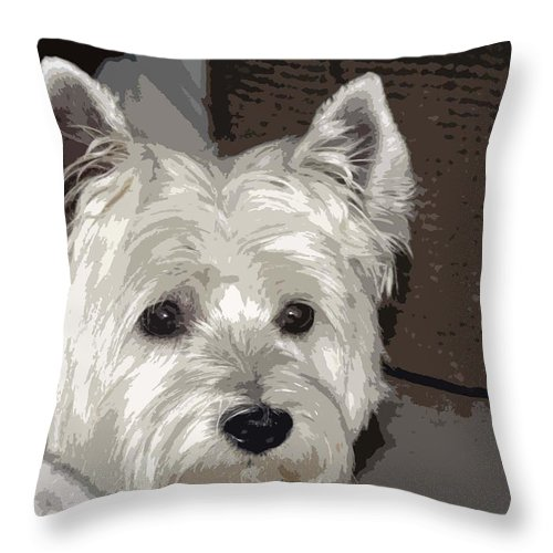 Westie Throw Pillow featuring the photograph Annie by Linda Dunn