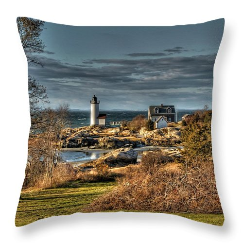 Annisquam Lighthouse Throw Pillow featuring the photograph Annisquam Lighthouse Late Autumn by Liz Mackney