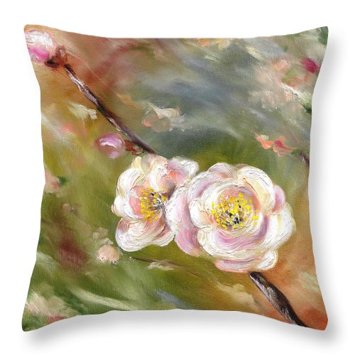Flower Throw Pillow featuring the painting Anniversary by Hiroko Sakai