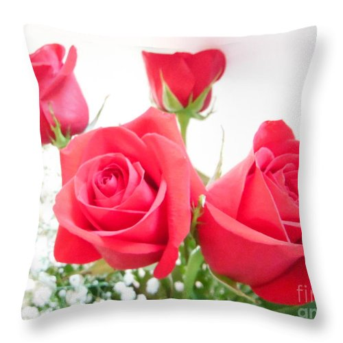 Anniversary Roses With Love Throw Pillow featuring the photograph Anniversary Roses With Love 3 by Paddy Shaffer