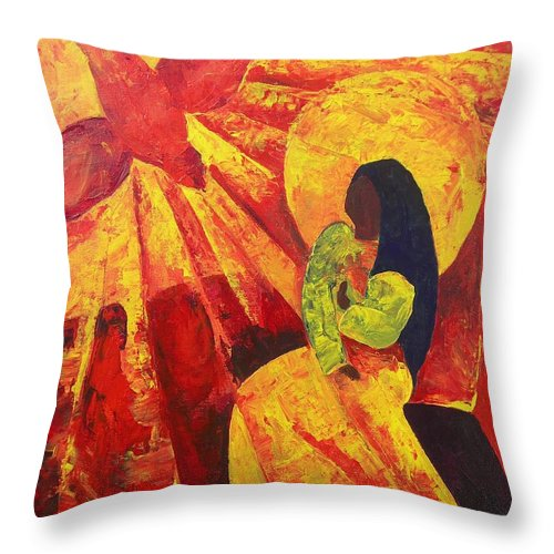 Haiti Throw Pillow featuring the painting Annunciation by Patricia Brintle