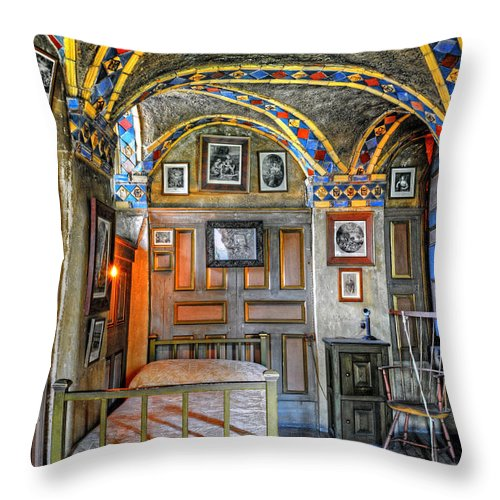 Bedroom Throw Pillow featuring the photograph Another Bedroom At The Castle by Dave Mills