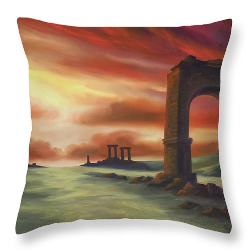 Sunset Throw Pillow featuring the painting Another Fallen Empire by James Christopher Hill