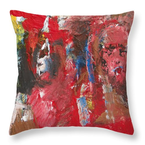 Expressive Throw Pillow featuring the painting Another Of These Awful Days by Judith Redman