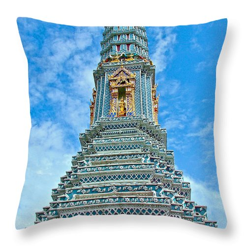 Another Stupa At Grand Palace Of Thailand In Bangkok Throw Pillow featuring the photograph Another Stupa At Grand Palace Of Thailand In Bangkok by Ruth Hager