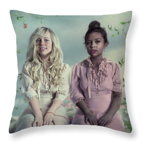 People Throw Pillow featuring the photograph Another Twins by Vizerskaya