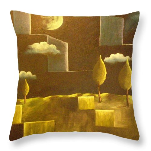 Surrealism Throw Pillow featuring the painting another World by Birgit Schnapp