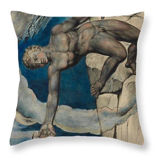 William Blake Throw Pillow featuring the painting Antaeus Setting Down Dante And Virgil In The Last Circle Of Hell by William Blake