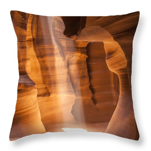 America Throw Pillow featuring the photograph Antelope Canyon Gorgeous Lightbeam by Melanie Viola