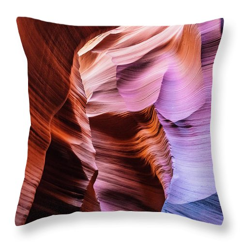 Curve Throw Pillow featuring the photograph Antelope Canyon Spiral Rock Arches by Deimagine