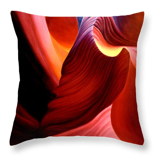 Antelope Canyon Throw Pillow featuring the painting Antelope Magic by Anni Adkins