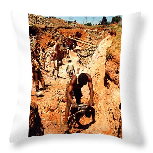 South-africa Throw Pillow featuring the photograph Anthony Howarth Collection - Gold- Re-working Old Mines - S.a. by Anthony Howarth