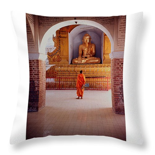 Anthony Throw Pillow featuring the photograph Anthony Howarth Collection - Gold - Saffron And Gold - Burma by Anthony Howarth
