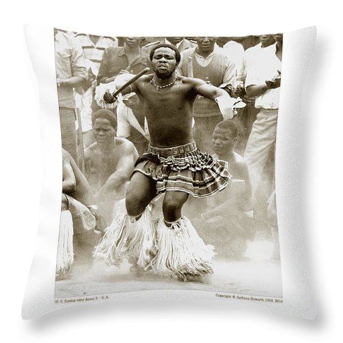 Anthony Throw Pillow featuring the photograph Anthony Howarth Collection - Gold - Sunday Mine Dance 2 - S.a. by Anthony Howarth