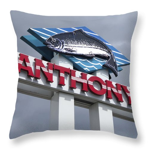 Anthony's Throw Pillow featuring the photograph Anthonys Trout Sign by Daniel Hagerman