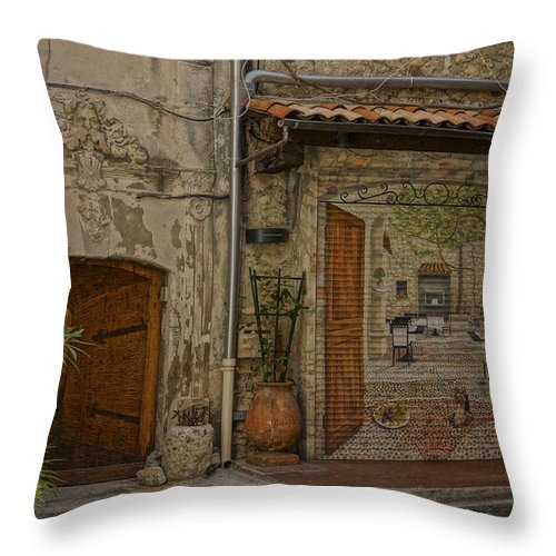 France Throw Pillow featuring the photograph Antibes France Scene Paintings Dsc02278 by Greg Kluempers