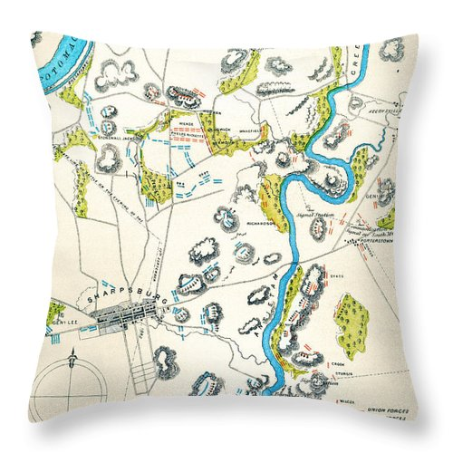 1862 Throw Pillow featuring the photograph Antietam, Maryland, 1862 by Granger