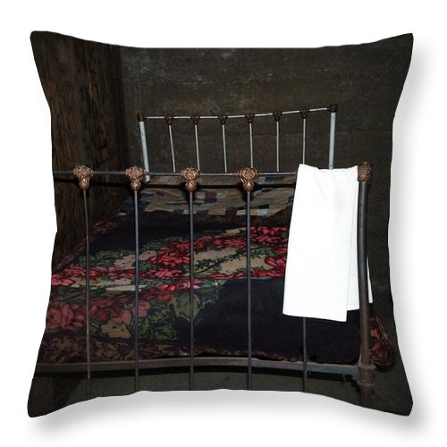 Vintage Throw Pillow featuring the photograph Antique Bed by Image Takers Photography LLC - Carol Haddon