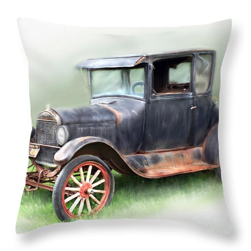 Model T Car Throw Pillow featuring the painting Antique Car by Bonnie Willis