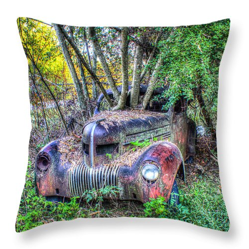 Antique Throw Pillow featuring the photograph Antique Car With Trees In Windshield by Douglas Barnett