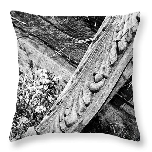 Architecture Throw Pillow featuring the photograph Antique Carved Wood Facade Piece by Phyllis Denton