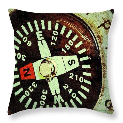 Antique Compass Throw Pillow featuring the photograph Antique Compass by Bill Owen