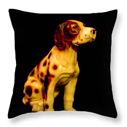 Antique Dog Throw Pillow featuring the photograph Antique Dog 3 by Mechala Matthews