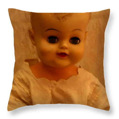 Antiques Throw Pillow featuring the photograph Antique Doll 1 by Mechala Matthews