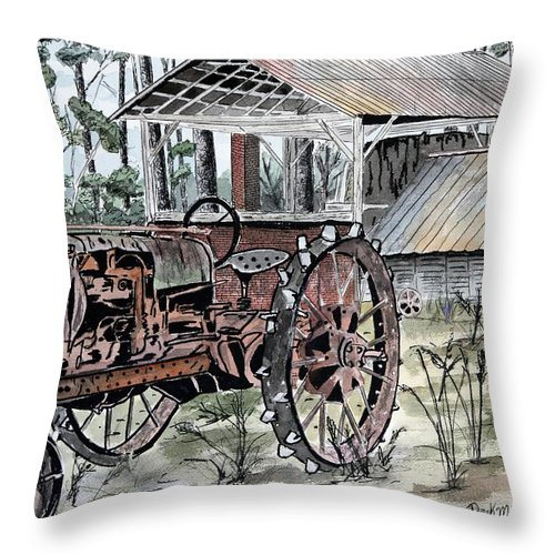Tractor Throw Pillow featuring the painting Antique Farm Tractor  by Derek Mccrea