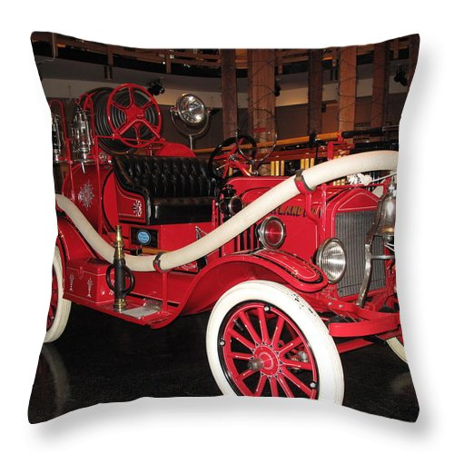 Fire Engine Throw Pillow featuring the photograph Antique Fire Engine by Barbara McDevitt