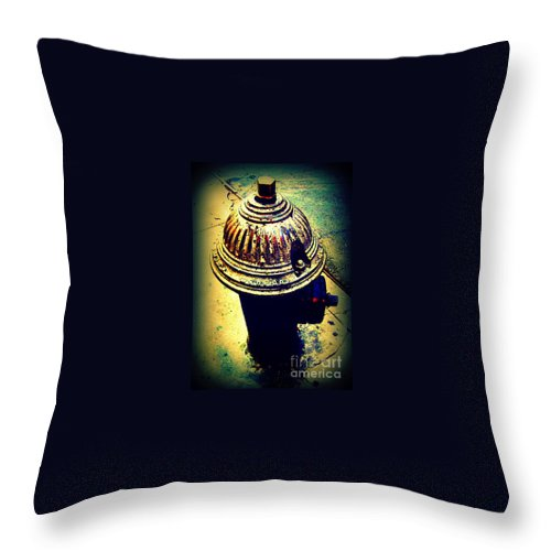 Fire Hydrant Throw Pillow featuring the photograph Antique Vintage Fire Hydrant - Multi-colored by Miriam Danar