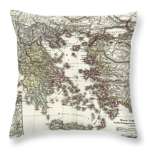 Ancient History Throw Pillow featuring the digital art Antique Map Of Ancient Greece by Duncan1890